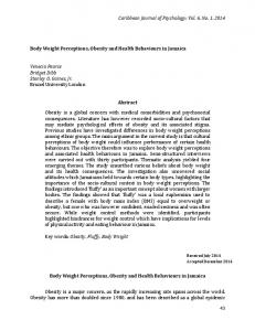 Abstract. Body Weight Perceptions, Obesity and Health Behaviours in Jamaica