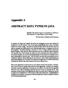 ABSTRACT DATA TYPES IN JAVA