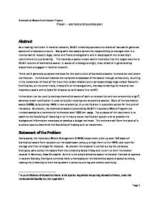 Abstract. Statement of the Problem. Biomedical Waste Sterilization Project Phase I estimate and business plan