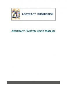 ABSTRACT SYSTEM USER MANUAL