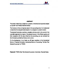 ABSTRACT. The present thesis has as objective to present a theoretical and practical analysis on the NIIF FOR PYMES INVENTORIES