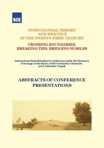 ABSTRACTS OF CONFERENCE PRESENTATIONS