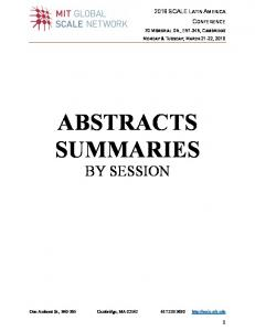 ABSTRACTS SUMMARIES BY SESSION