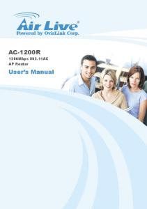 AC-1200R. 1200Mbps AC AP Router. User s Manual