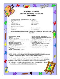 ACADEMIA CLARET Lista de Materiales Pre-Kinder