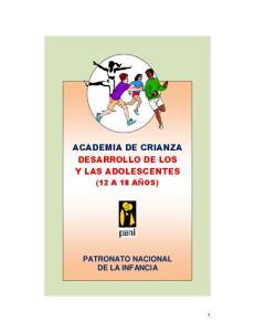ACADEMIA DE CRIANZA DESARROLLO DE LOS Y LAS ADOLESCENTES