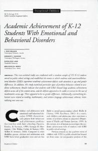 Academic Achievement ofk-12 Students With Emotional and Behavioral Disorders