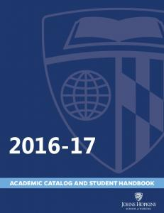 ACADEMIC CATALOG AND STUDENT HANDBOOK