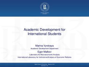 Academic Development for International Students