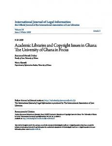 Academic Libraries and Copyright Issues in Ghana: The University of Ghana in Focus