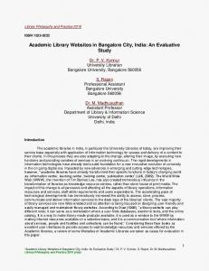 Academic Library Websites in Bangalore City, India: An Evaluative Study