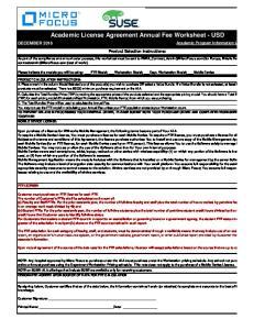 Academic License Agreement Annual Fee Worksheet - USD