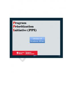 Academic Programs Prioritization