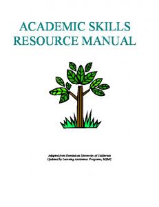 ACADEMIC SKILLS RESOURCE MANUAL