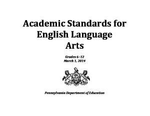 Academic Standards for English Language Arts