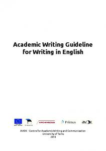 Academic Writing Guideline for Writing in English