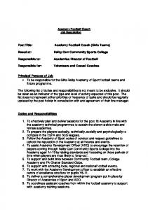 Academy Football Coach (Girls Teams) Balby Carr Community Sports College