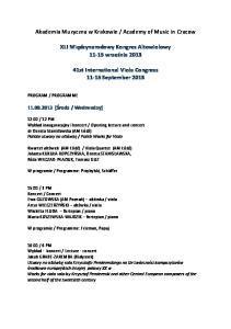 Academy of Music in Cracow. XLI Międzynarodowy Kongres Altowiolowy września 2013