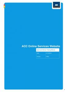 ACC Online Services Website Agent and Advisor Training Manual