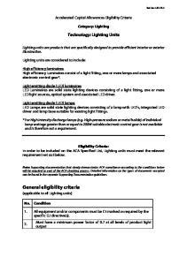 Accelerated Capital Allowances Eligibility Criteria. Category: Lighting. Technology: Lighting Units
