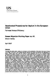 Accelerated Procedures for Asylum in the European Union Fairness Versus Efficiency