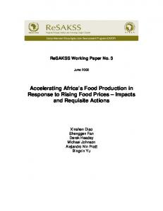 Accelerating Africa s Food Production in Response to Rising Food Prices Impacts and Requisite Actions
