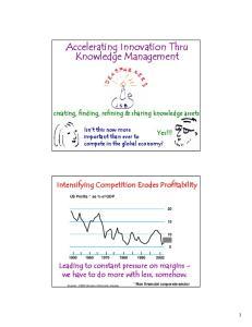 Accelerating Innovation Thru Knowledge Management