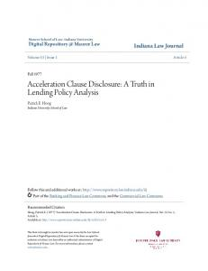 Acceleration Clause Disclosure: A Truth in Lending Policy Analysis