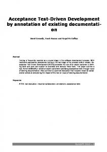Acceptance Test-Driven Development by annotation of existing documentation