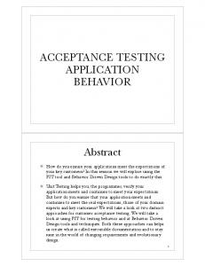 ACCEPTANCE TESTING APPLICATION BEHAVIOR. Abstract