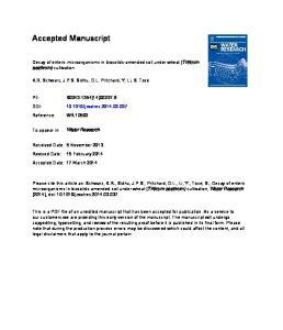 Accepted Manuscript. Decay of enteric microorganisms in biosolids-amended soil under wheat (Triticum aestivum) cultivation