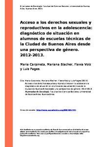 Acceso a los derechos sexuales y reproductivos en la adolescencia: