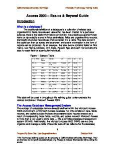 Access 2003 Basics & Beyond Guide
