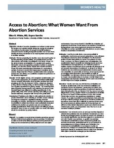 Access to Abortion: What Women Want From Abortion Services