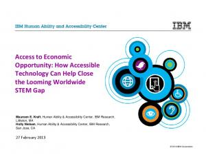 Access to Economic Opportunity: How Accessible Technology Can Help Close the Looming Worldwide STEM Gap