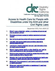 Access to Health Care for People with Disabilities under the ADA and other Civil Rights Laws