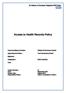 Access to Health Records Policy