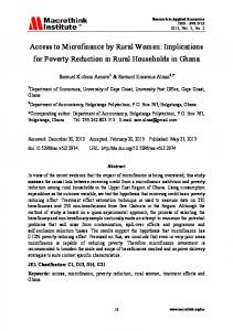 Access to Microfinance by Rural Women: Implications for Poverty Reduction in Rural Households in Ghana