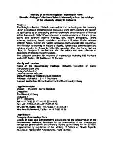 Accessibility: Copyright status: Responsible administration: Identification Description: Bibliographic details: History: