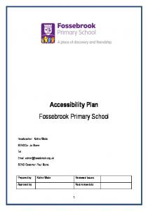 Accessibility Plan Fossebrook Primary School