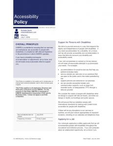 Accessibility Policy. Support for Persons with Disabilities OVERALL PRINCIPLES. Applying for a Job