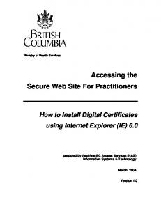 Accessing the Secure Web Site For Practitioners
