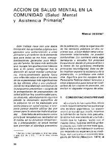 ACCION DE SALUD MENTAL EN LA COMUNIDAD (Salud Mental