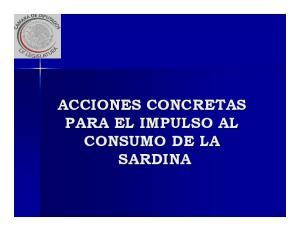 ACCIONES CONCRETAS PARA EL IMPULSO AL CONSUMO DE LA SARDINA