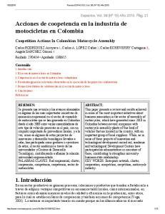 Acciones de coopetencia en la industria de motocicletas en Colombia