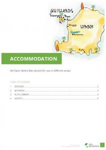 ACCOMMODATION. We have listed a few options for you in different areas: Table of Contents