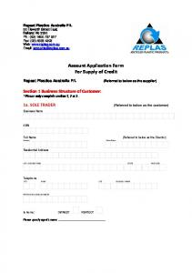 Account Application Form For Supply of Credit