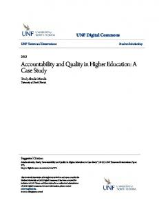 Accountability and Quality in Higher Education: A Case Study