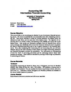 Accounting 202 Intermediate Financial Accounting