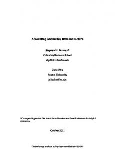 Accounting Anomalies, Risk and Return